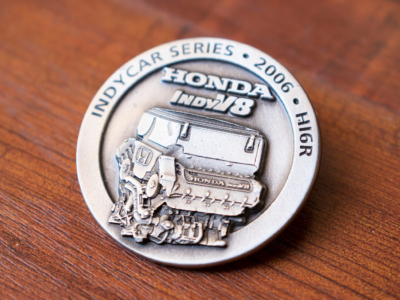 HONDA PERFORMANCE DEVELOPMENT –3D pewter collectible Indy Car Racing commemorative custom pin for new engine launch